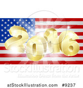 Vector Illustration of a 3d Golden 2016 Burst over an American Flag and Fireworks by AtStockIllustration