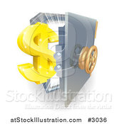Vector Illustration of a 3d Golden Dollar Symbol and an Open Safe with Light by AtStockIllustration