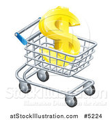 Vector Illustration of a 3d Golden Dollar Symbol in a Shopping Cart by AtStockIllustration