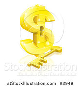 Vector Illustration of a 3d Golden Dollar Symbol with a Key Hole and Skeleton Key by AtStockIllustration
