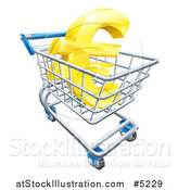 Vector Illustration of a 3d Golden Euro Currency Symbol in a Shopping Cart by AtStockIllustration