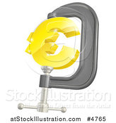 Vector Illustration of a 3d Golden Euro Symbol in a Clamp by AtStockIllustration