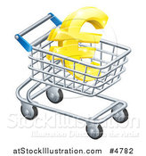 Vector Illustration of a 3d Golden Euro Symbol in a Shopping Cart by AtStockIllustration