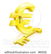 Vector Illustration of a 3d Golden Euro Symbol Padlock and Skeleton Key by AtStockIllustration