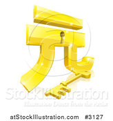 Vector Illustration of a 3d Golden Gold Yuan Lock and Key with a Reflection by AtStockIllustration