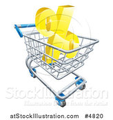Vector Illustration of a 3d Golden Interest Rate Percent Symbol in a Shopping Cart by AtStockIllustration