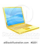Vector Illustration of a 3d Golden Laptop with Blue Waves on the Screen by AtStockIllustration