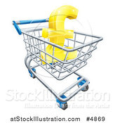Vector Illustration of a 3d Golden Lira Pound Symbol in a Shopping Cart by AtStockIllustration