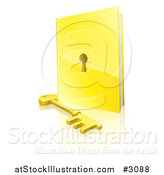 Vector Illustration of a 3d Golden Padlock Book and Skeleton Key with a Reflection by AtStockIllustration
