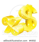 Vector Illustration of a 3d Golden Percent and Dollar Symbol by AtStockIllustration