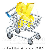 Vector Illustration of a 3d Golden Percent Discount Symbol in a Shopping Cart by AtStockIllustration