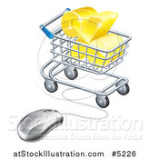 Vector Illustration of a 3d Golden Percent Discount Symbol in a Shopping Cart Wired to a Computer Mouse by AtStockIllustration