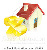 Vector Illustration of a 3d Golden Percent Symbol by a House by AtStockIllustration