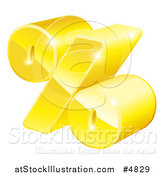 Vector Illustration of a 3d Golden Percent Symbol by AtStockIllustration