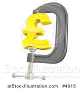 Vector Illustration of a 3d Golden Pound Currency Symbol in a Clamp by AtStockIllustration