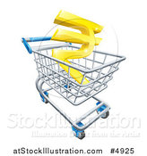 Vector Illustration of a 3d Golden Rupee in a Shopping Cart by AtStockIllustration