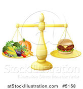 Vector Illustration of a 3d Golden Scale Comparing a Cheeseburger to Produce by AtStockIllustration