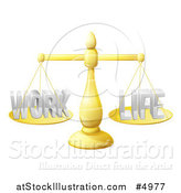Vector Illustration of a 3d Golden Scales Balancing Work and Life Equally by AtStockIllustration