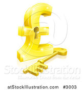 Vector Illustration of a 3d Golden Skeleton Key and Pound Sterling Key Hole by AtStockIllustration