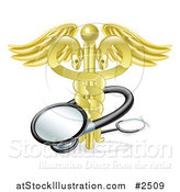 Vector Illustration of a 3d Golden Snake Caduceus with a Stethoscope by AtStockIllustration