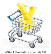 Vector Illustration of a 3d Golden Yen with a White Outline, in a Shopping Cart by AtStockIllustration