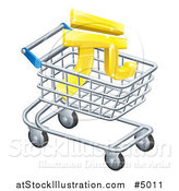 Vector Illustration of a 3d Golden Yuan Currency Symbol in a Shopping Cart by AtStockIllustration