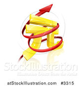 Vector Illustration of a 3d Golden Yuan Currency Symbol with Spiraling Arrows by AtStockIllustration