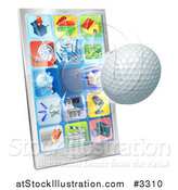 Vector Illustration of a 3d Golf Ball Flying Through and Breaking a Cell Phone Screen by AtStockIllustration