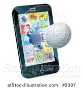 Vector Illustration of a 3d Golf Ball Flying Through and Breaking a Cellphone Screen by AtStockIllustration