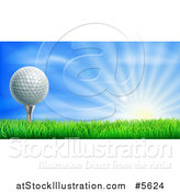 Vector Illustration of a 3d Golf Ball on a Tee over a Sunrise by AtStockIllustration