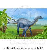Vector Illustration of a 3d Grayish Blue Diplodocus Dinosaur in a Landscape by AtStockIllustration