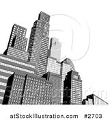 Vector Illustration of a 3d Grayscale City Skyscrapers with White Copyspace by AtStockIllustration