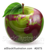 Vector Illustration of a 3d Green Apple Globe with Red Continents by AtStockIllustration