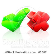 Vector Illustration of a 3d Green Check Mark and Red Cross by AtStockIllustration