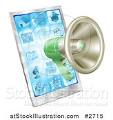 Vector Illustration of a 3d Green Megaphone over a Cell Phone by AtStockIllustration
