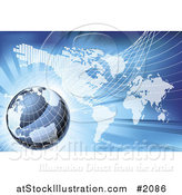 Vector Illustration of a 3d Grid Globe over an Atlas on Blue by AtStockIllustration