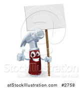 Vector Illustration of a 3d Hammer Character Holding a Thumb up and a Blank Sign by AtStockIllustration
