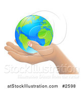 Vector Illustration of a 3d Hand Holding Earth Featuring the Atlantic by AtStockIllustration