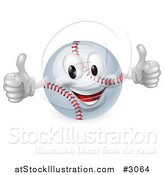 Vector Illustration of a 3d Happy Baseball Mascot Holding Two Thumbs up by AtStockIllustration