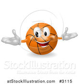 Vector Illustration of a 3d Happy Basketball Mascot by AtStockIllustration