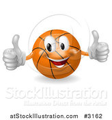 Vector Illustration of a 3d Happy Basketball Mascot Holding Two Thumbs up by AtStockIllustration