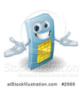 Vector Illustration of a 3d Happy Blue SIM Card Mascot by AtStockIllustration