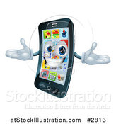 Vector Illustration of a 3d Happy Cell Phone Character Holding His Arms out by AtStockIllustration