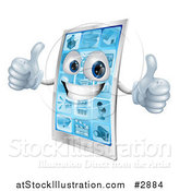 Vector Illustration of a 3d Happy Cell Phone Character Holding Two Thumbs up by AtStockIllustration