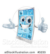 Vector Illustration of a 3d Happy Cell Phone Mascot Holding a Thumb up by AtStockIllustration