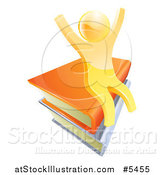 Vector Illustration of a 3d Happy Cheering Gold Man Sitting on a Stack of Books by AtStockIllustration