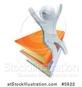 Vector Illustration of a 3d Happy Cheering Silver Man Sitting on Books by AtStockIllustration