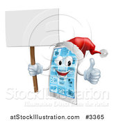Vector Illustration of a 3d Happy Christmas Cell Phone Mascot Holding a Sign Thumb up and Wearing a Santa Hat by AtStockIllustration