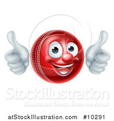 Vector Illustration of a 3d Happy Cricket Ball Mascot Character Giving Two Thumbs up by AtStockIllustration