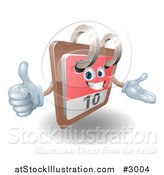 Vector Illustration of a 3d Happy Desk Calendar Holding a Thumb up by AtStockIllustration